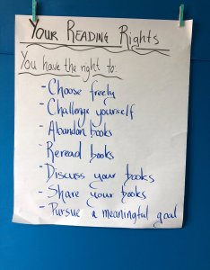 And so this is where we stand tonight  our very first anchor chart to remind us of what it means be  reader that honored within community also the rights readers pernille ripp rh pernillesripp