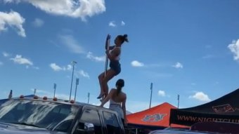 Dolphins Ladies Ride A Stripper Pole At Sunday's Tailgate
