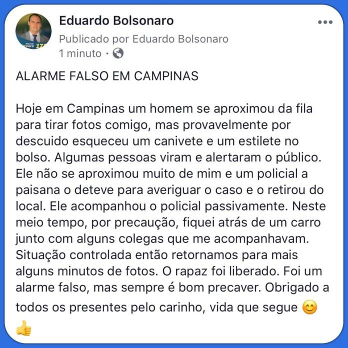 Possível Ameaça a Eduardo Bolsonaro Em Campinas