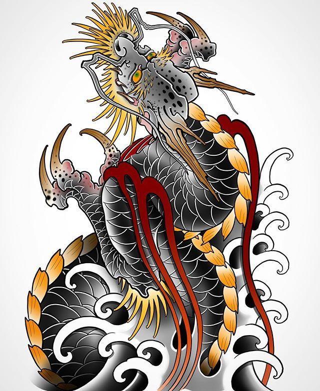 Dragon Tattoo Flash : dragon, tattoo, flash, Japanese, Dragon, Tattoo, Flash