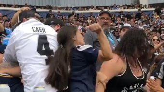Couple Of Women Traded Punches & Pulled Hair At Today's Raiders-Chargers Game