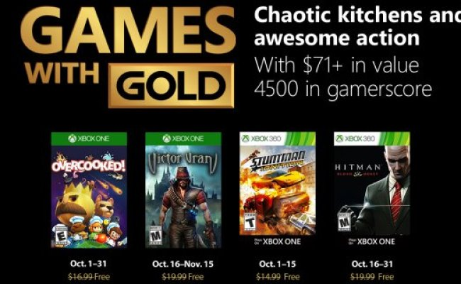 Free Games With Gold For October 2018 Xbox 360 News At