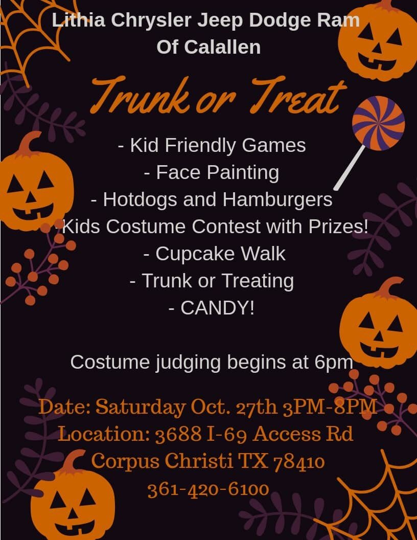 Lithia Dodge Calallen : lithia, dodge, calallen, Chrysler, Dodge, Calallen, Twitter:, TRUNK, TREAT, Lithia, Would, Invite, Family
