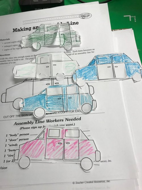 small resolution of our scientist of the month henry ford invented assembly lines students worked in lines to build paper cars