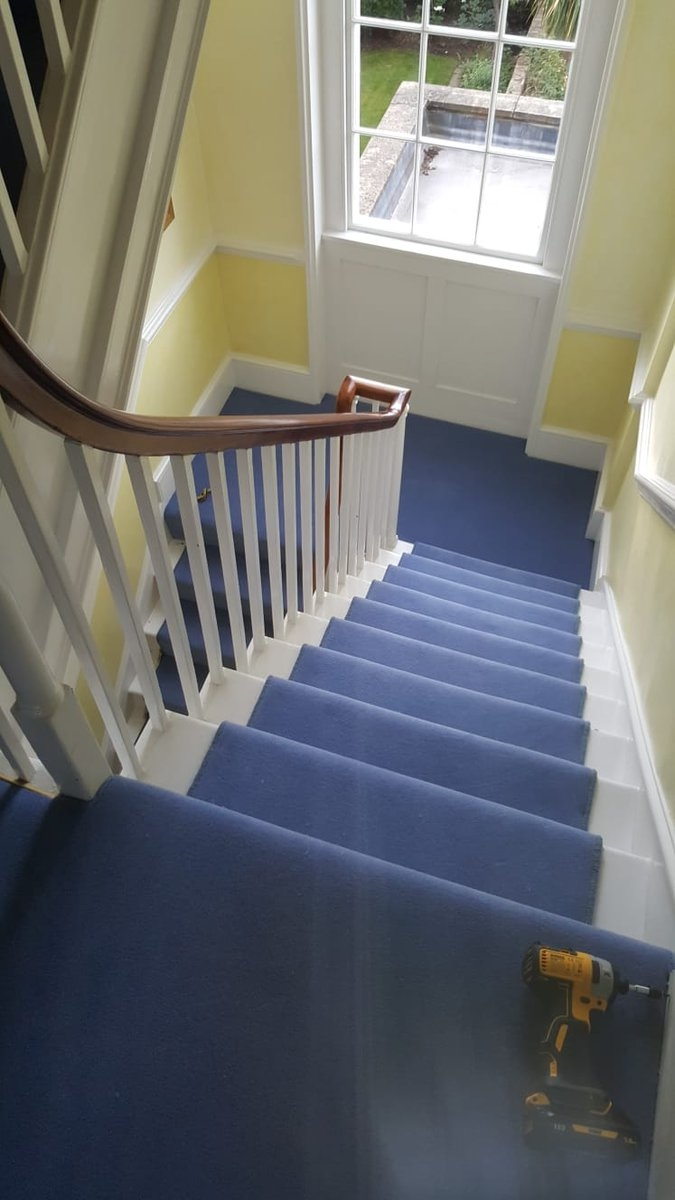 The Flooring Group On Twitter Blue Carpet Stairrods Installed   Blue Carpet On Stairs   Wooden   Grey Stair White Wall   Antelope   Geometric   Gray
