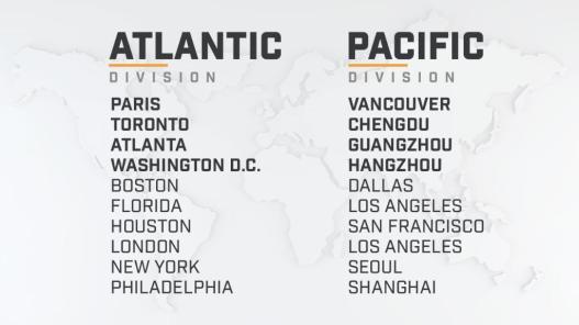 Overwatch League takımlarının bölgeleri