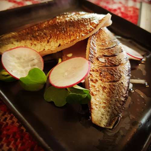 Cured and torched jeon-eo 전어 (gizzard shad), pickled radish, green chili. Orange ponzu.
