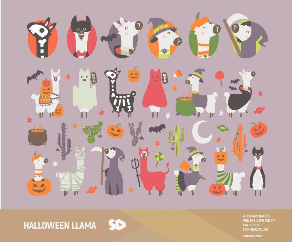 medium resolution of halloween llama clipart https www etsy com listing 635896636 halloween llama clipart cactus clip art ref shop home active 1