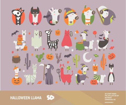 small resolution of halloween llama clipart https www etsy com listing 635896636 halloween llama clipart cactus clip art ref shop home active 1