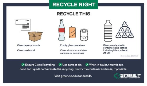 small resolution of  dame use single stream recycling so all recyclables can be thrown into the same bins around campus but remember to empty and clean your recyclables