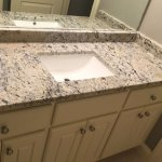 Granite Countertop W On Twitter For This Bathroom Project We Installed A Polished New Venetian Gold Granite Vanity Top With Eased Edge And A Large Rectangle Ceramic Vanity Sink Granite Vanitytop Newvenetiangold