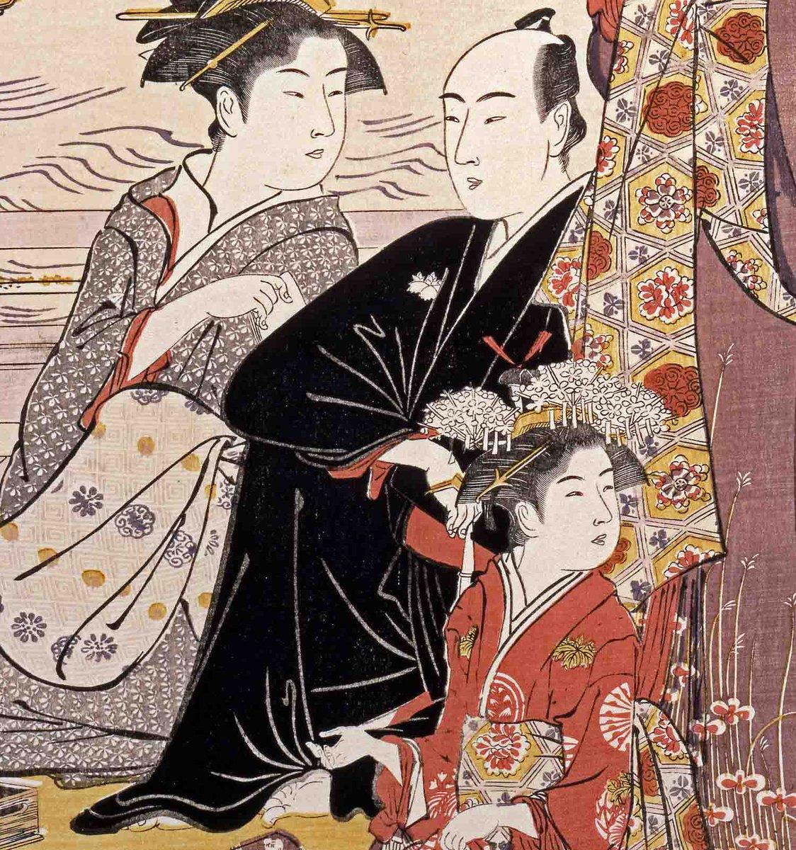 test ツイッターメディア - 男性のファッションにも注目。スマートに遊ぶ通人に好まれた、黒の小袖に緋色の博多帯をしめたコーディネートです。切腹したように見えたことから「腹切帯(はらきりおび)」と呼ばれました。原宿の太田記念美術館で開催中「#花魁ファッション」(前期:~11/25)展にて展示中。 https://t.co/pzZPIzonrK