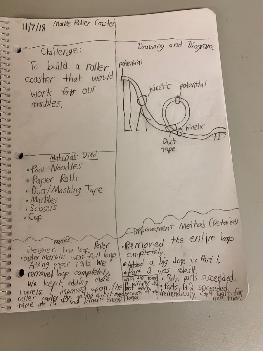 hight resolution of mcmahon school on twitter 7th grade students stem journals utilizing the design process