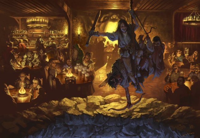 """Sidharth Chaturvedi on Twitter: """"D&D: Yawning Portal Tavern. From 'Dungeon  of the Mad Mage.' AD: Kate Irwin. This was SO MUCH FUN to paint. Also one  of the few that I didn't"""