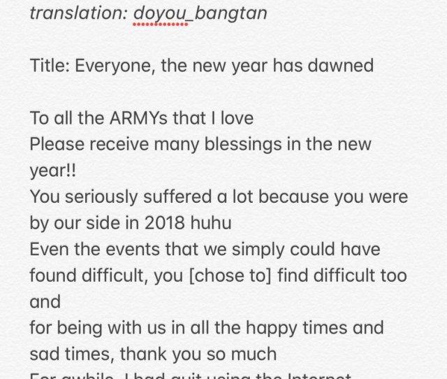 We Love You Seokjin 20190101 Jin Fancafe Update Cr Trans Pict