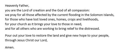 After the torrential rains in the Solomon Islands, we pray....
