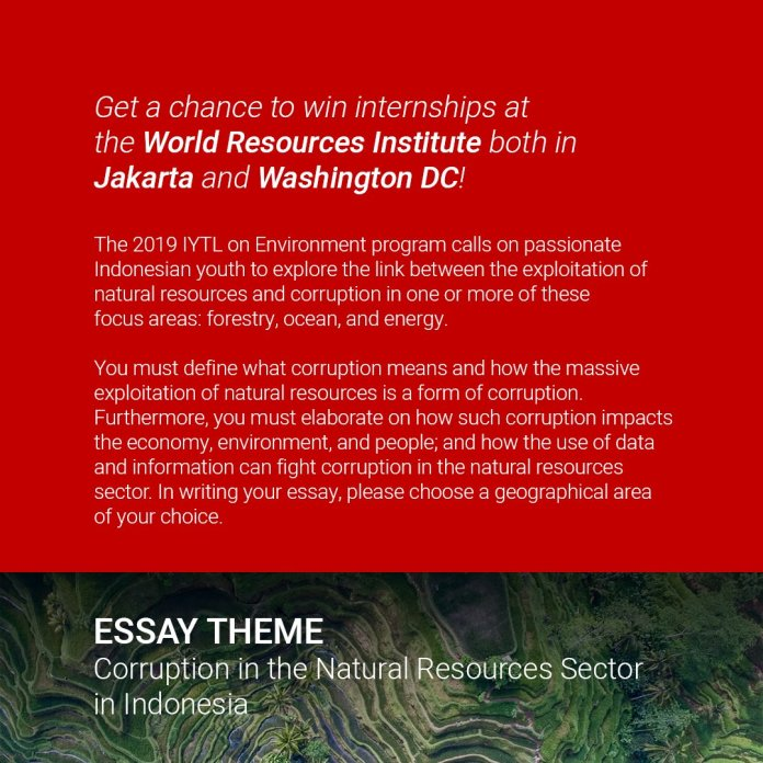 Fpci On Twitter Submit Your Essay On Corruption In The Natural Resources Sector In Indonesia And Win A Chance For A One Month Internship In Washington Dc Go Check Wriindonesia And Visit Https T Co Lnwgwvw0pn