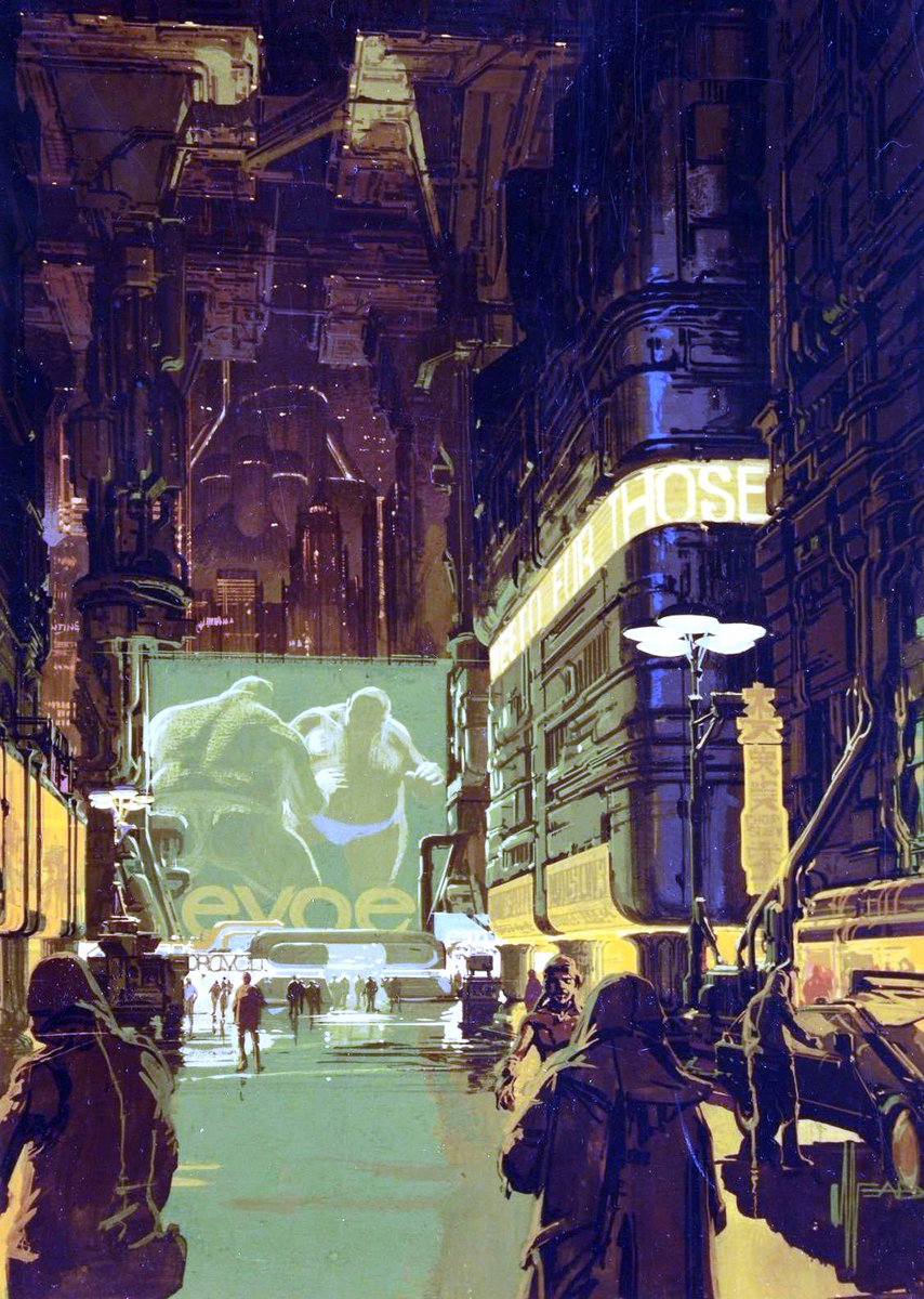 Syd Mead Concept Art : concept, Humanoid, History, Twitter:, Concept, BLADE, RUNNER,, 1982.…
