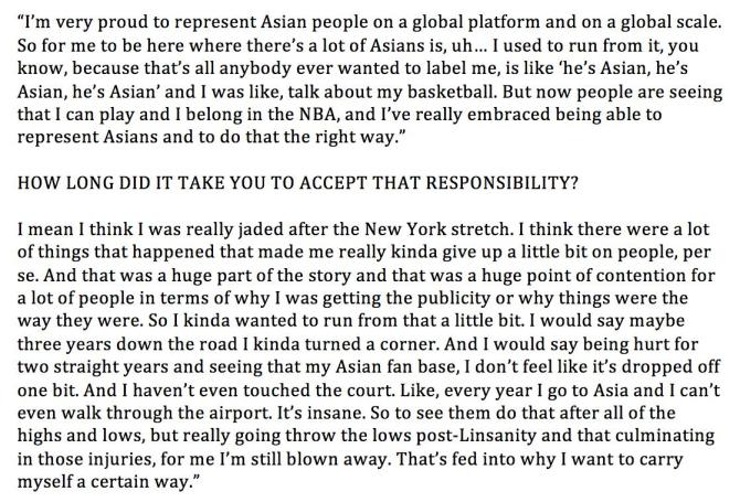 RT @JLew1050 A candid Jeremy Lin on how he came to embrace all the attention he gets from the Asian community and why he's proud to represent them: