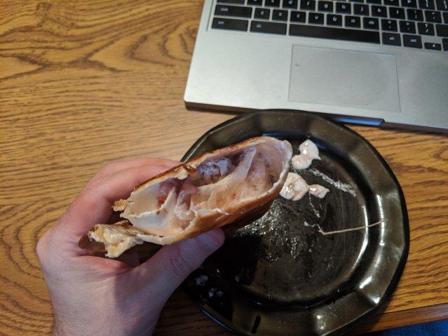 Fun fact: It looks like a unicorn barfed into a flour tortilla.