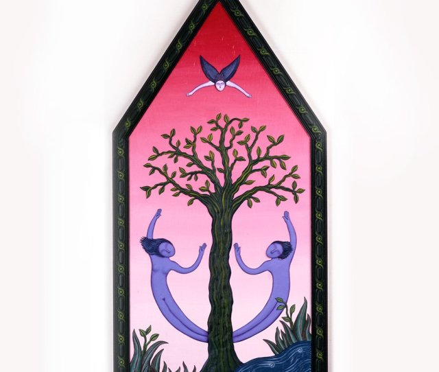 Tree Of Knowledge Adam And Eve Before They Were Driven From Paradise From My Mythology Series An Early Work Mixed Media Poly Chrome Relief 40x24