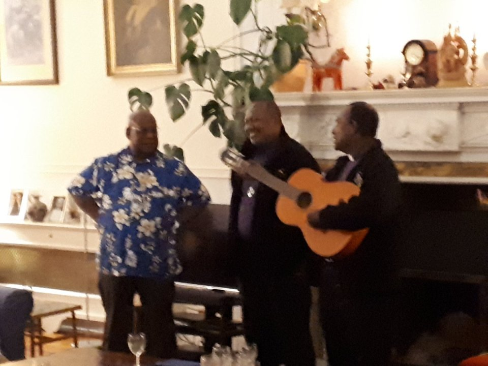 On their visit to @ChesterDiocese from Melanesia, +James and +Rickson break into song with +Willie Pwaisiho. Lovely evening at Bishop's House. +James…