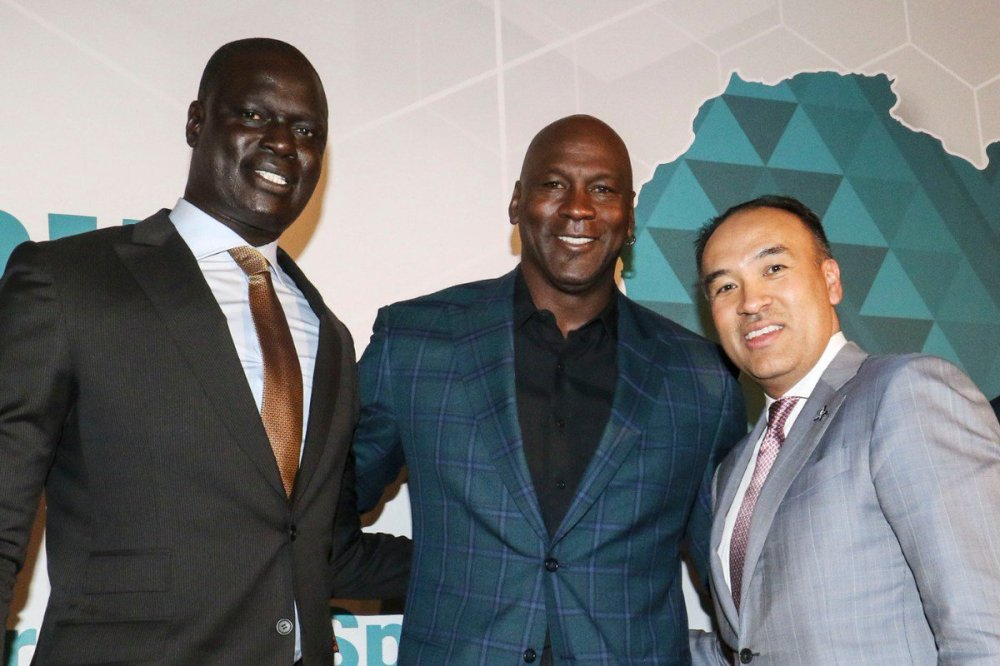 """NBA Africa on Twitter: """"NBA VP & Managing Director for Africa, Amadou Gallo  Fall, @hornets Chairman Michael Jordan and @NBA Deputy Commissioner Mark  Tatum at the announcement of the Basketball Africa League"""