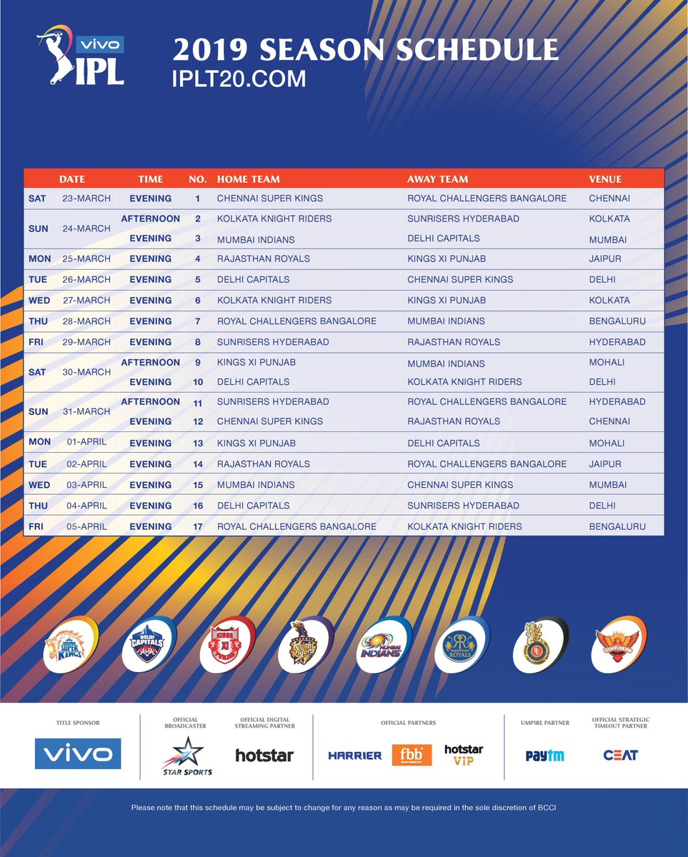 Time table pdf ipl t20