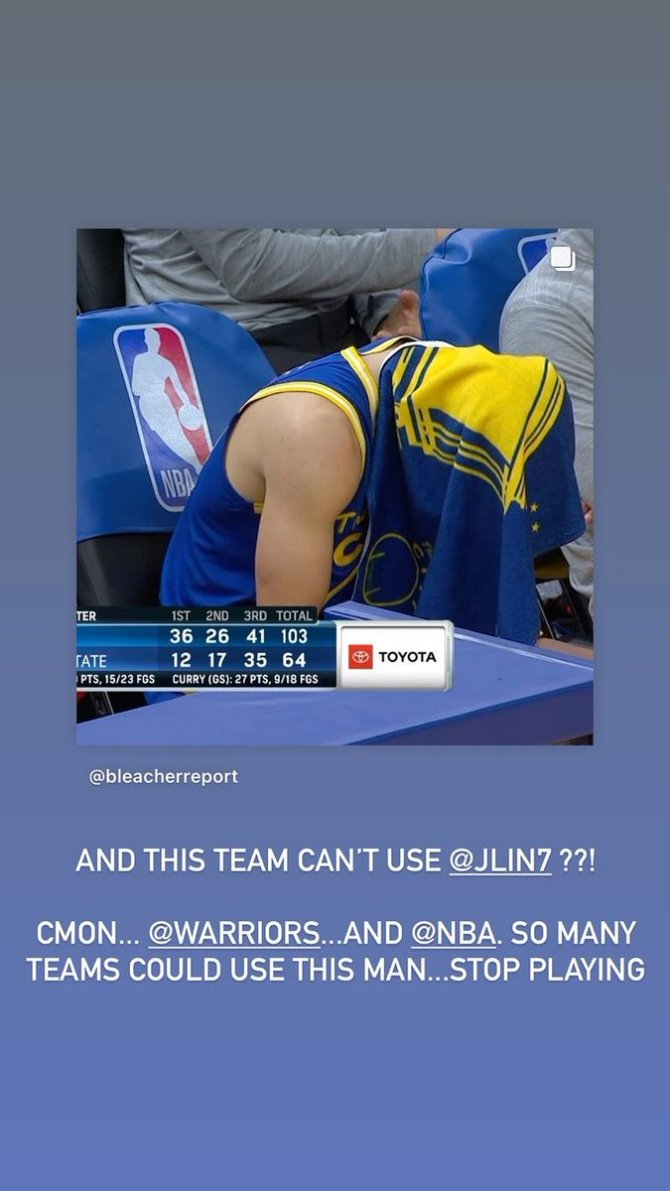 @Joelinsta (IG story) (@JLin7 Jeremy Lin's lil brother)  And this team can't use @JLin7 ??! Cmon...@warriors...And @NBA .So many teams could use this man.....stop playing