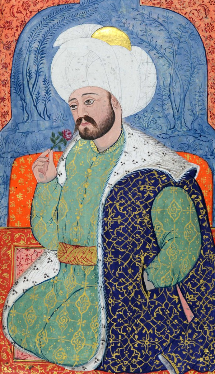 Mehmed I, Sultan of the Ottoman Empire from 1413 to 1421 - a portrait of a Sultan on a later illuminated manuscript, showing the ornate details. He is wearing a large turban with a gold circle, a green kaftan with brocade, and an overcoat.