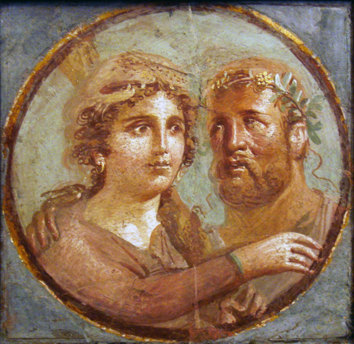 Heracles and Omphale, Roman fresco, Pompeian Fourth Style (45–79 AD), Naples National Archaeological Museum, Italy - two figures looking at each other, in Roman garb.