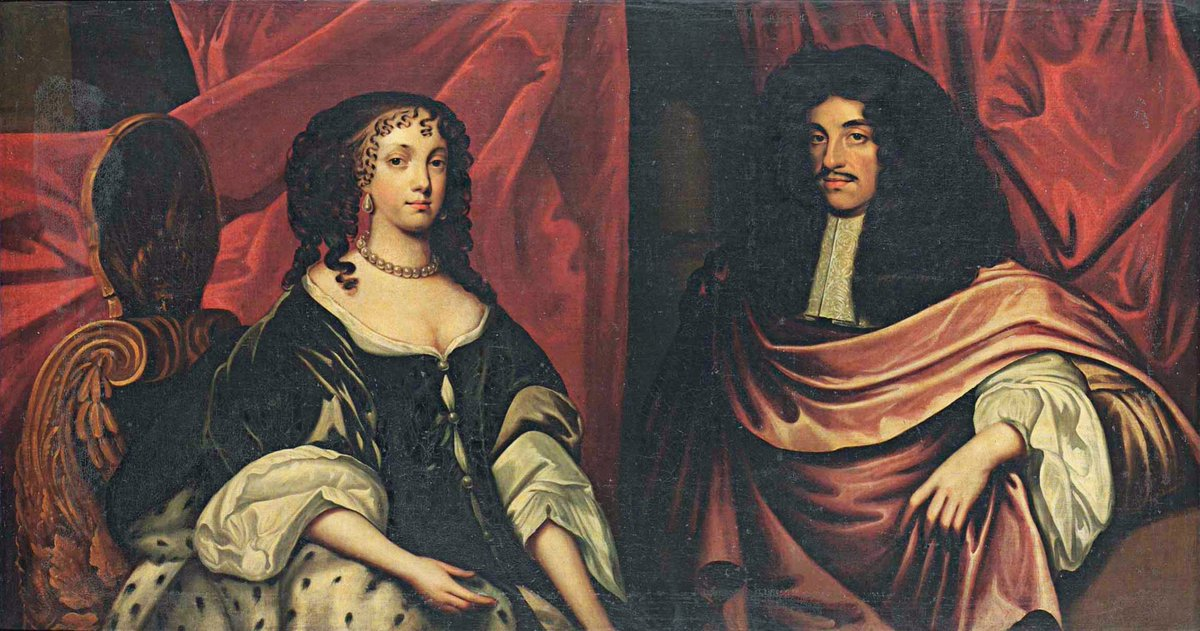 Double portrait of King Charles II (1630-1685), in a pink cloak and Catherine of Braganza (1638-1705), in a grey dress and an ermine-lined wrap, seated on a scallop-shell back chair, half-length, before a draped curtain Provenance - public domain