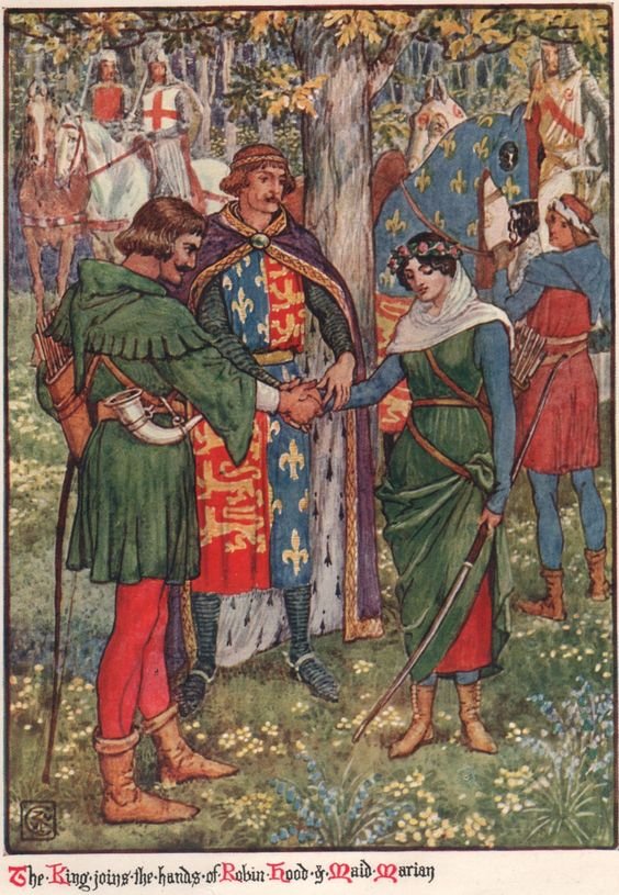 """""""The King joins the hands of Robin Hood and Maid Marian"""", from Henry Gilbert's novel Robin Hood and the Men of the Greenwood (source, source), originally published in 1912 (source). The book was illustrated by Walter Crane (source). -"""