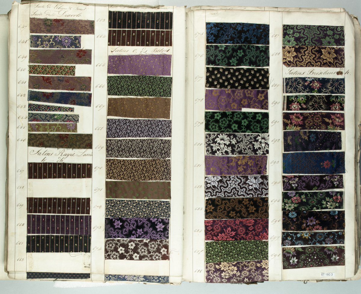A textile sample book dating from the 1830s, filled with dozens of floral samples in rectangles. Each square has different floral motifs. This kind of book would have been in the possession of a salesman and brought to women to choose their dresses. From the Met Museum, public domain.