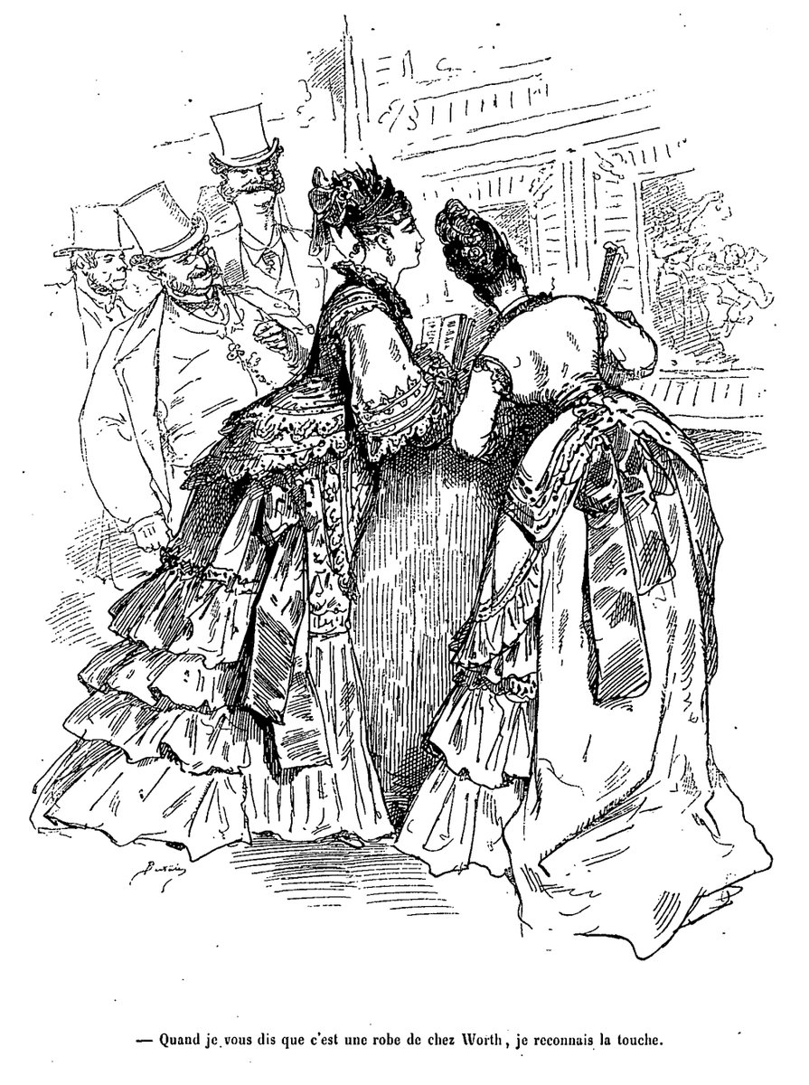 """""""Quand je vous dis que c'est une robe de chez Worth, je reconnais la touche."""" (""""I told you it was a dress from Worth's. I know the look.""""). Cartoon by French illustrator Bertall (1820-1882) showing two ladies at an art museum. """"Worth"""" is the fashion designer Charles Frederick Worth (1825-1895)."""