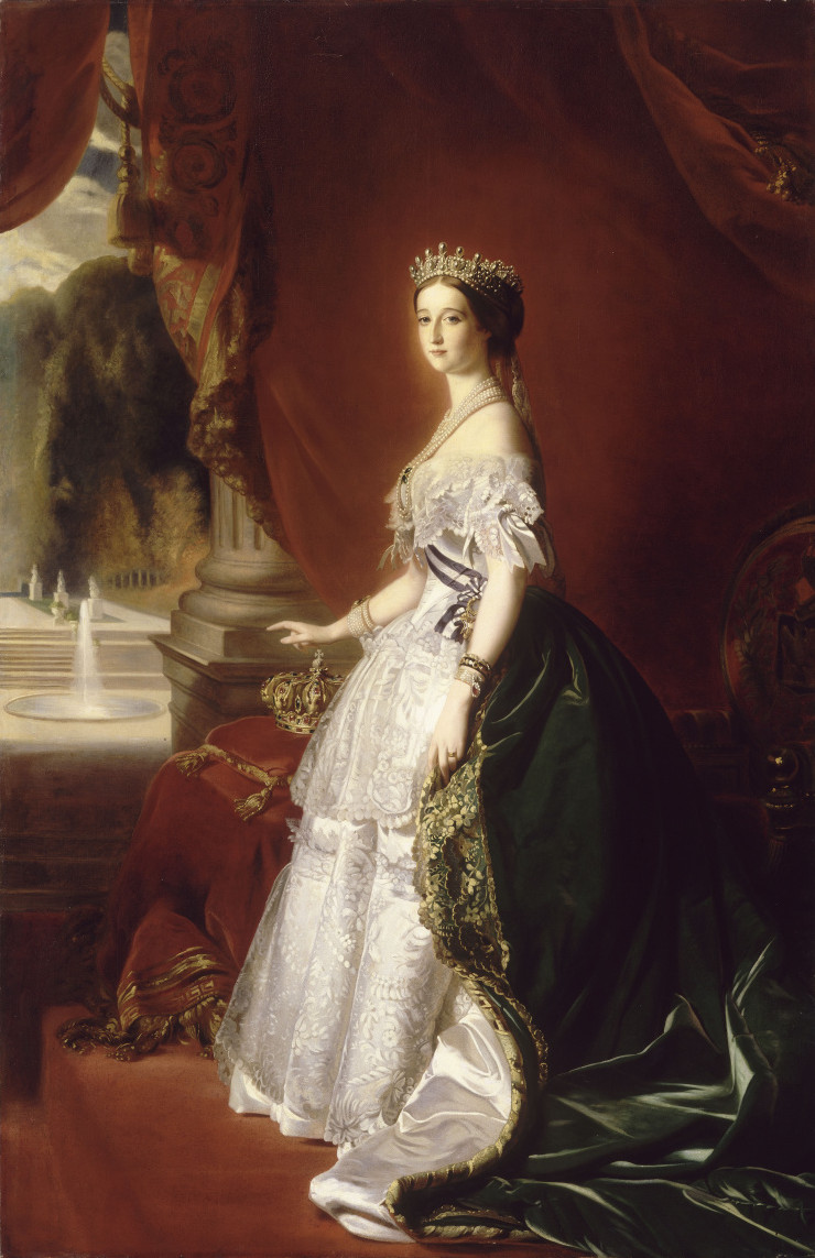 Empress Eugenie in a Worth court ensemble of white and green satin. It is pretty straightforward compared to his later work, but certainly paved the way for his freer work later on. Public domain.