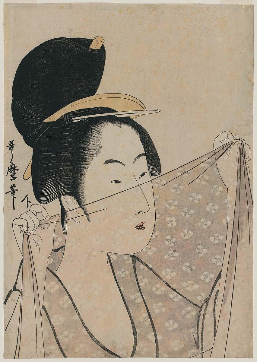 An ink drawing of a woman with a high bun and ornate hair pin holding a transparent textile before her face, looking through it. Boston MFA.