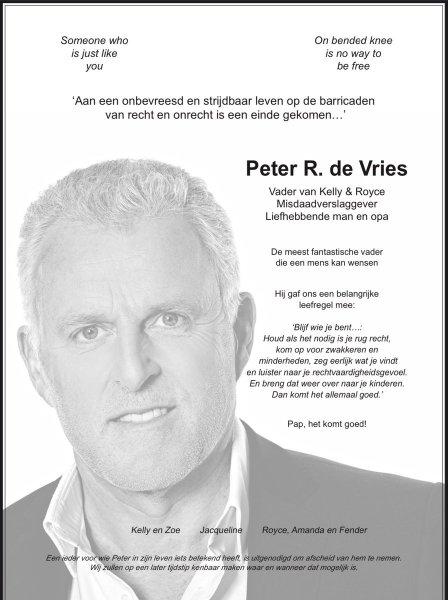 Paginagrote advertenties voor Peter R. de Vries: 'Pap, het komt goed' | NOS