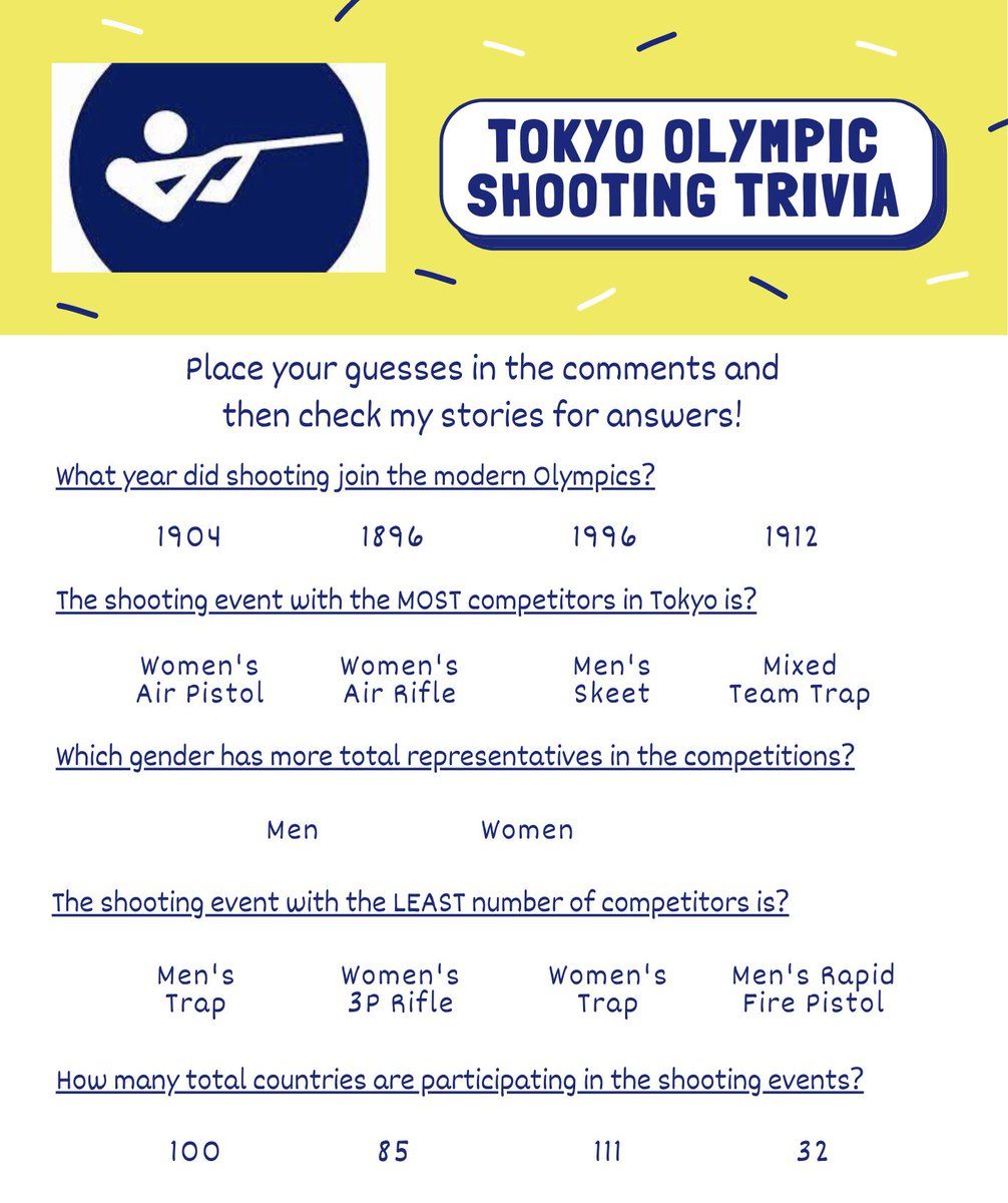 test Twitter Media - Let's play some Olympic shooting trivia today! 🤗 https://t.co/E1sN9e2Duh