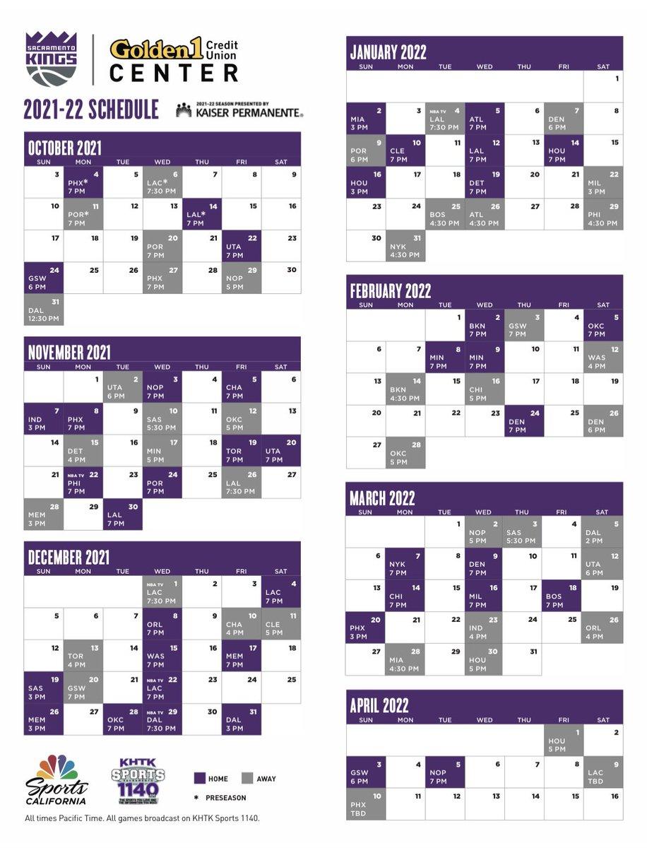 El calendario de los Kings para la temporada 2021-22.