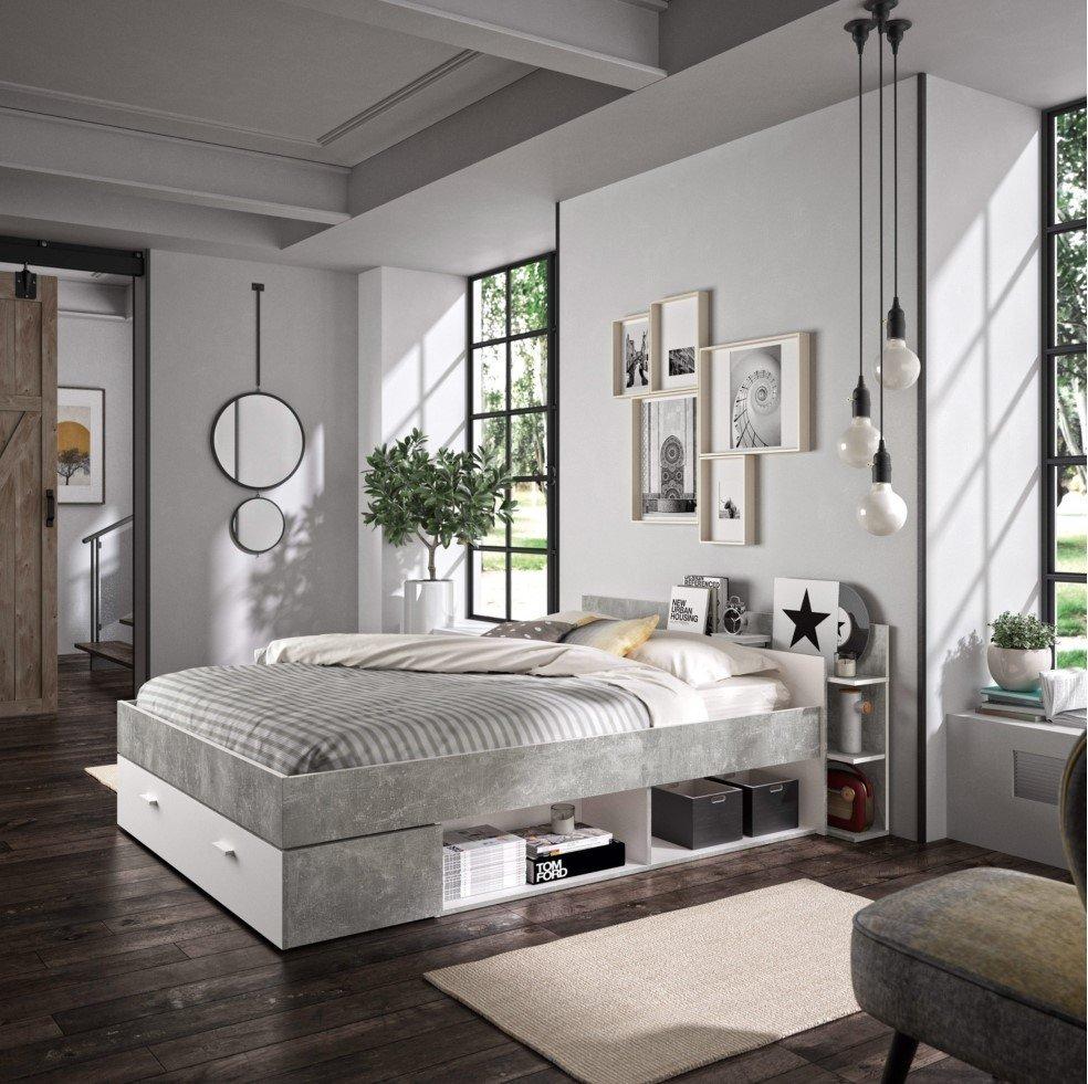 lit avec rangements 140x190 cm tonight