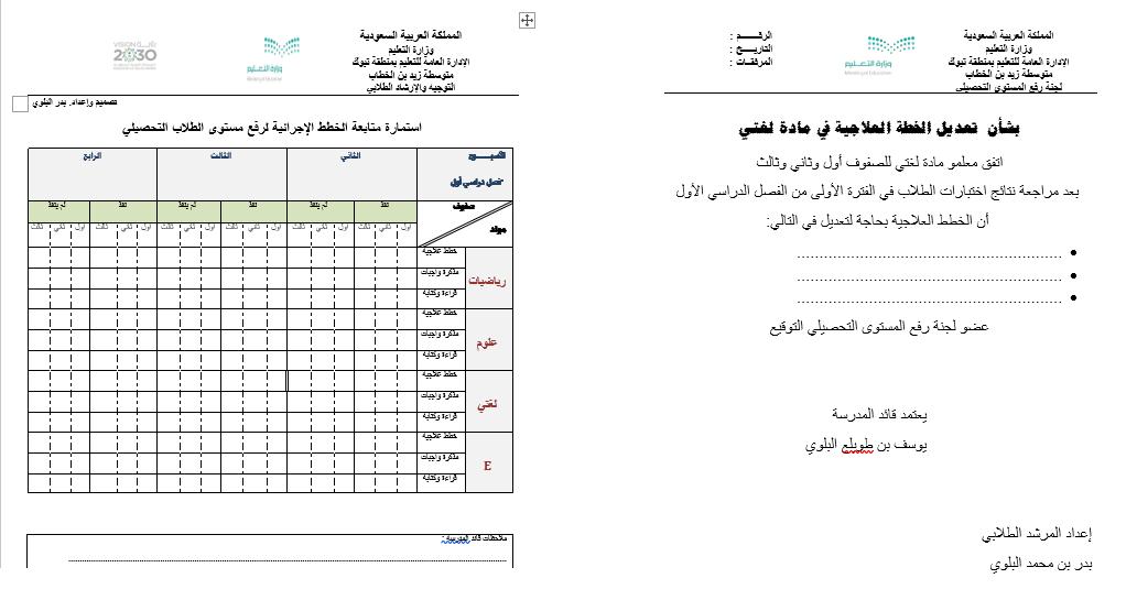 استمارة متابعة عمل المرشد