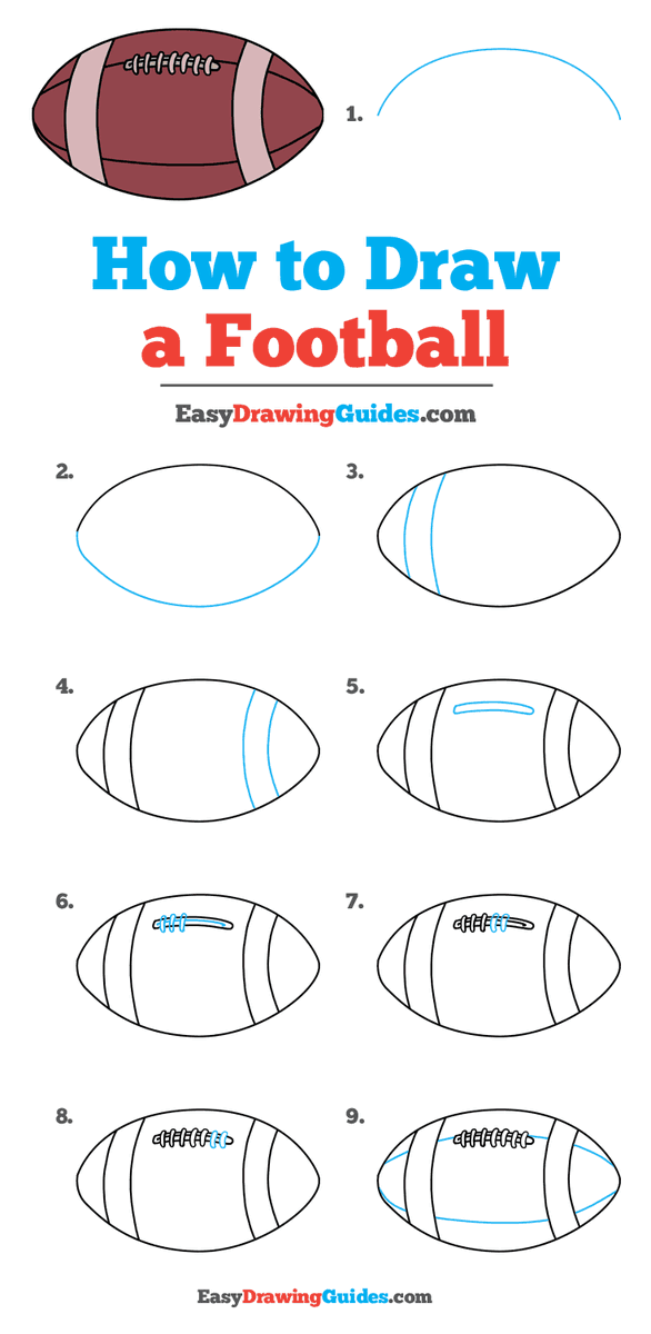 Football Drawing Easy : football, drawing, Drawing, Guides, Twitter:,
