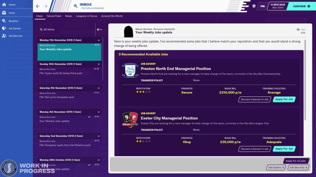 """Football Manager on Twitter: """"An improved unemployed experience 📨 There's  more info on available jobs, increased press opportunities and weekly job  updates #FM20Features… https://t.co/ZLnuqnxbAG"""""""