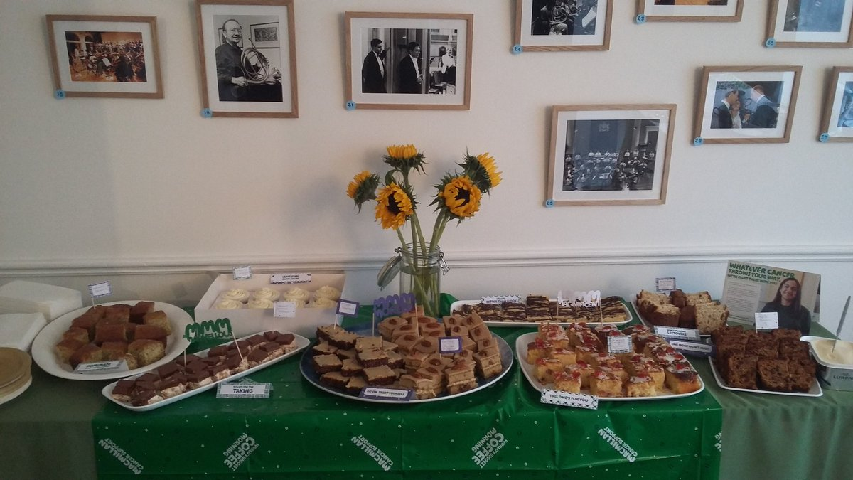 We reached our target and raised enough to pay for a #Macmillan nurse for the day! And there is even plenty of #cake for us to finish off this afternoon. #macmillancoffeemorning