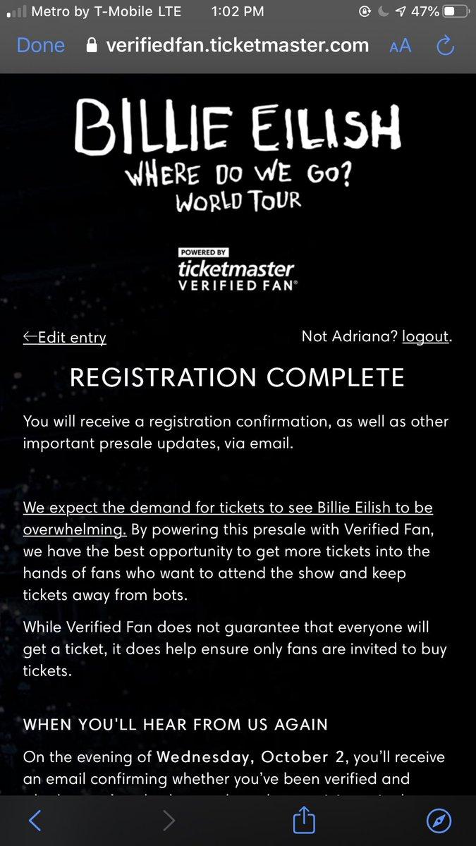 Verified Fan Ticketmaster Billie Eilish : verified, ticketmaster, billie, eilish, Billie, Eilish, Twitter:,