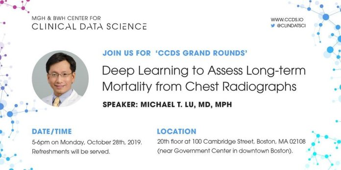 test Twitter Media - Excited to host Dr. Michael T. Lu, MD, MPH @michael_t_lu, presenting how #AI can predict long-term death from chest x-rays. Mark your calendar for 5pm on 10/28. Free admission. Register today! https://t.co/qPfsiMtJ1q #Radiology #DeepLearning https://t.co/jvW2Wk1JrP