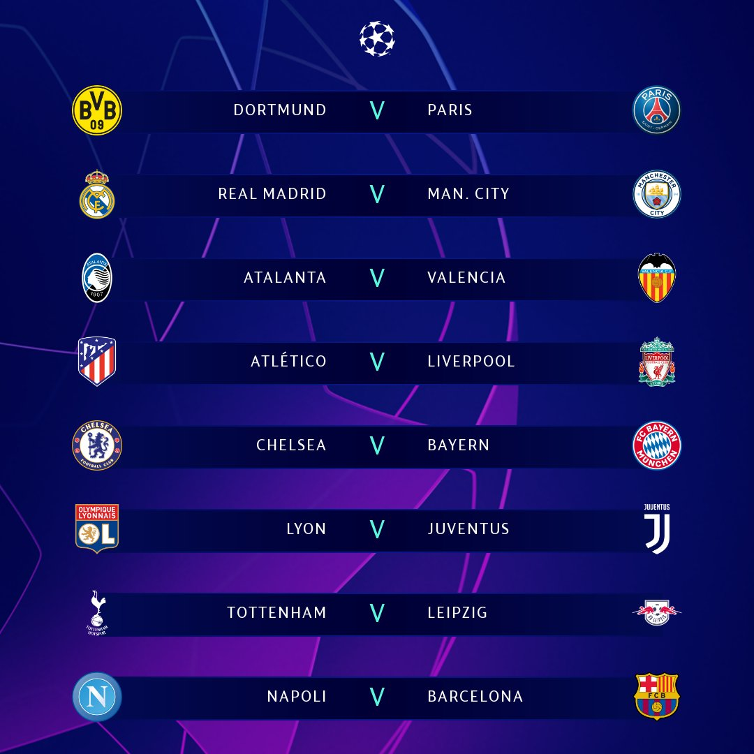 Round 16 Champions League Draw 2020 - Kb6z5v0v0t2vcm - The seeded teams are at home in the second legs. - Dominga Mcnary