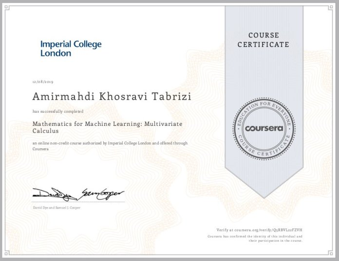 test Twitter Media - I completed Mathematics for Machine Learning: Multivariate Calculus! Check out my certificate https://t.co/Tyk2bZS8cN #MachineLearning  #DeepLearning  #ArtificialIntelligence https://t.co/JTS1QRcDdf
