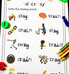 EnglishSafari on Twitter: \**FREE** ai ay words worksheet for kindergarten  and first grade. Visit my website [ 1200 x 960 Pixel ]